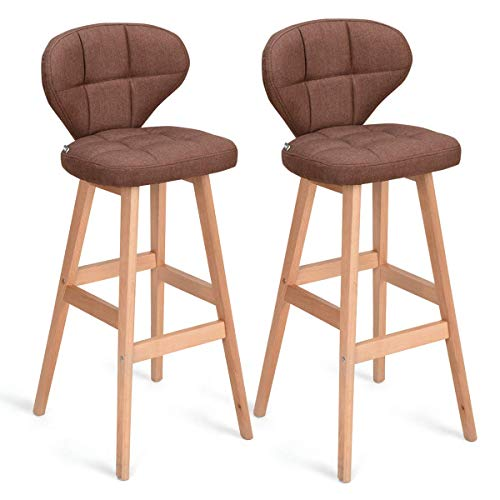 COSTWAY Bar Stools Pub Chair with Wood Legs Set of 2 Bar Stools Backrest Pub Chair with Wood Legs Fabric Pub Height Vintage Casual, Brown