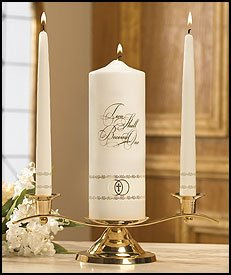 Two Shall Become OneWedding Unity Candle Applique on WaxPillar and Taper Candle Pack of 2 by US Gifts