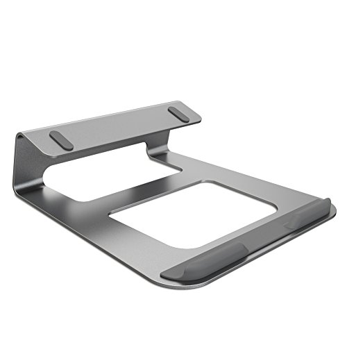 (PROMIC Laptop Stand Aluminum Ventilated Stand for Desk, Portable Aluminum Cooling Stand for MacBook Portable Holder for Notebook (Space Gray))