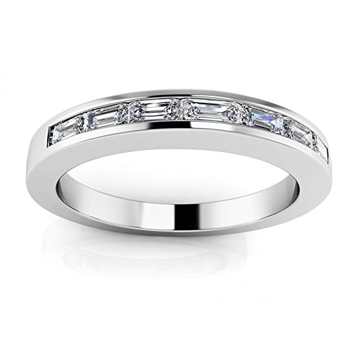 1.00 ct Ladies Baguette Cut Diamond Eternity Wedding Band Ring ( Color G Clarity SI1) 14 kt White Gold In Size 8 (Band Eternity Ring Baguette Diamond)
