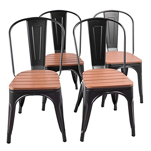 (Modern Style Black Metal Chair Hotel Stackable Bistro Dining Chairs Wooden seat High Back Set of 4 Black)