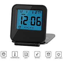 Travel Alarm Clocks LCD Digital Screen Mini Desk Clock Battery Operated Fold Up Night Light Ultra-thin Clamshell 12/24 Hour Soft Blue Backlight with Temperature Date Week Repeating Snooze by Yxaomite