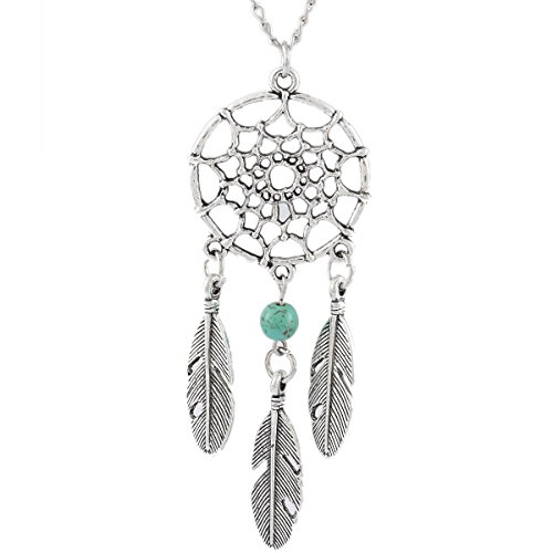 MJartoria Women's Dangling Feather Turquoise Charms Filigree Tribal Dreamcatcher Pendant Chain Necklace -