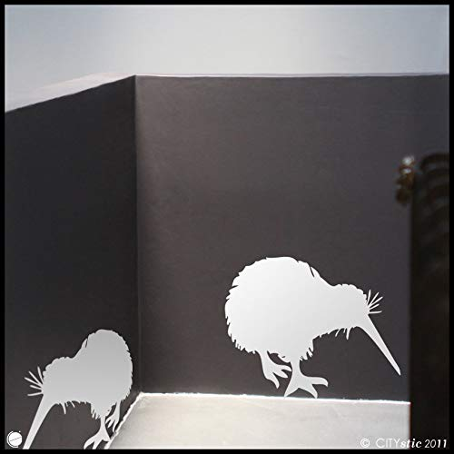 AmericanVinyl Wall Decals Sticker Animal New Zealand : Two Kiwi Birds Eating - Wall Decal for Kids Vinyl Wall Decor Children Deco ()