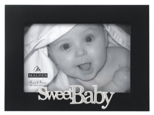 Malden International Designs Expressions Sweet Baby Black Wood Picture Frame, 4x6, Black