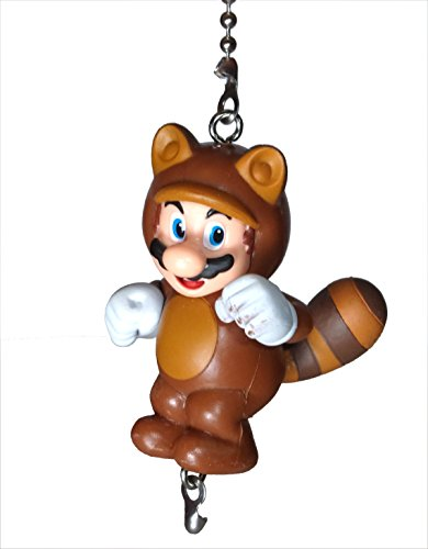Mario Bros Ceiling Fan Pull Set by Wooden Androyd Studio (Tanooki Mario) (Chain Link T-shirt)