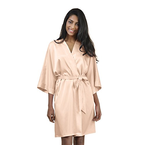 Lingerie Pink Shower (AWEI Womens Satin Robe Short Kimono Robe V-Neck Soft Bathrobe Sleepwear Solid Color, Shell Pink XS)