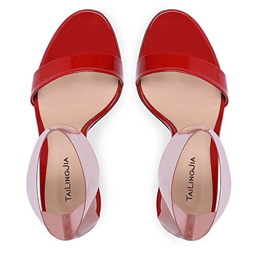 Court Red Size YC Large Elegant Handmade Peep da Casual Toe Sandali Party Donna Fashion L Prom 4qAP6ZA