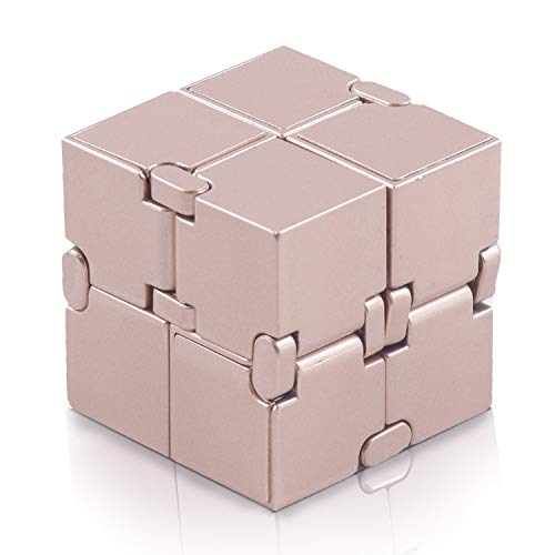 Fidget Cube in Style with Infinity Cube Toy Hand Killing Time Pressure Reduction Toy for ADD,ADHD,Anxiety and Autism Adult and Children (Rose-Gold)