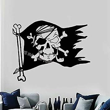 TYLPK Símbolos de la bandera pirata Skull Bones Tatuajes de pared ...