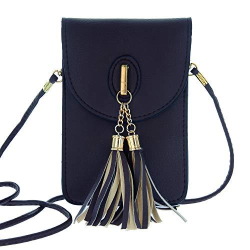 (Women's Small Tassel Crossbody Wallet Clutch bag with Touch Screen Window in Navy)