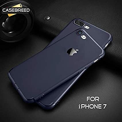 wholesale dealer 06503 46df7 Accessories Innovator Casebreed Soft Silicon Scrub Matte Finish Logo Cut  Back Cover Case with Anti Dust Plugs for iPhone 7 (Blue)