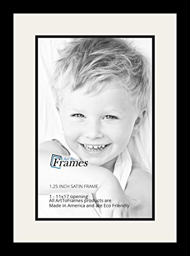 Art to Frames Double-Multimat-644-61/89-FRBW26079 Collage Photo Frame Double Mat with 1 - 11x17 Openings and Satin Black Frame