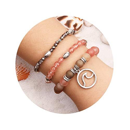 (Jardme Wave Druzy Cherry Quartz Peach Salmon Beige Gemstone Beaded Stretch Charm Bracelet Set Silver Handmade Bohemian Jewelry-Ocean Jewelry (Peach Pink))