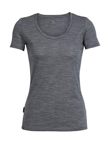 Icebreaker Merino Women's Tech Lite Short Sleeve Scoop T-Shirt, Gritstone Heather, Medium