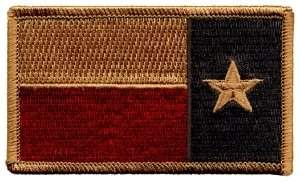 Reverse Texas State Flag Patch (Hook & Fastener), Size 3-3/8 x 2