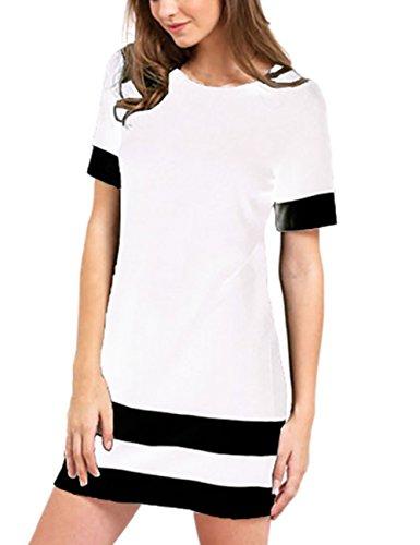 Bianco Eleganti Moda Magliette Vestiti Bianco Righe Vestito Corta Donna T Girocollo Manica A Estivi Nero Corti Shirt Casual Abito Abiti wRqHT1Eqa