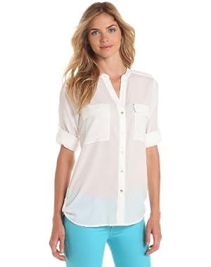 Women's Crew Roll-Sleeve Shirt Button-Front Blouse