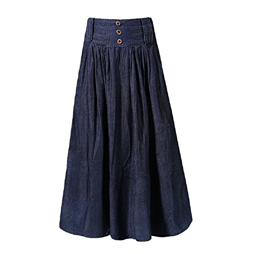 mi Denim Jupe Swing Femme Femme Denim Bleu A Jupe Taille Ligne Haute Jupe en Longue en Jupe Plisse FuweiEncore FEwdq4E7