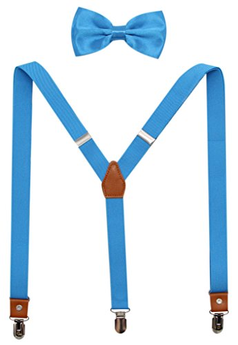Suspenders And Pre-Tied Bowtie Set For Boys And Men By JAIFEI, Casual And Formal (Boys(33 Inches), Turquoise)