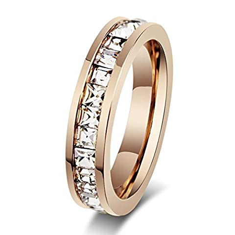 Cosines Jewelry - Rose Gold CZ Titanium Steel Ring Men/Womens Stainless Wedding Band Size 6 - Cut Halo Petite Diamond