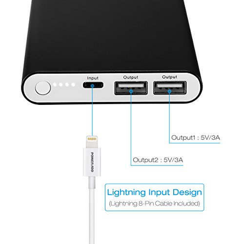 Apple Lightning 12000mAh Portable Charger, Poweradd Pilot 4GS Dual 3A Port External Battery Pack with Auto Detect Tech for iPhones and Other 5V Devices - Black (Apple 8-Pin Cable 3.3ft/1M Included)
