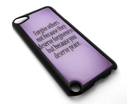 BLACK Inspirational Quote Purple Snap-On Cover Hard Carrying Case for iPod 5/5th Generation - Peace and Forgiveness