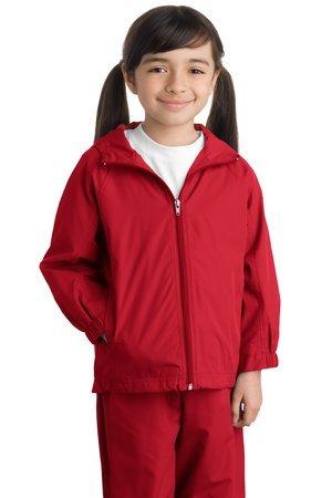 Sport-Tek Youth Hooded Raglan Jacket, True Red, S by Sport-Tek