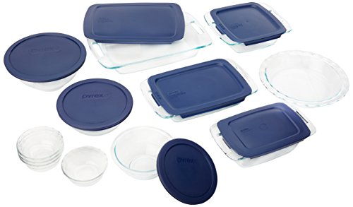 - Pyrex Easy Grab 19-Piece Glass Bakeware Set with Blue Lids