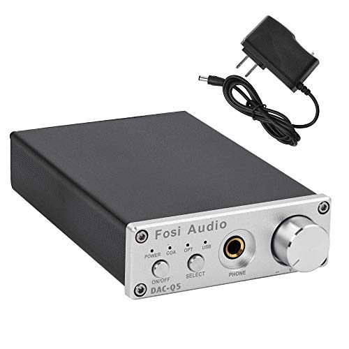 DAC Converter 24-bit/192kHz Optical/Coaxial/USB Digital-to-Analog Adapter Decoder & Headphone Amplifier & Mini Stereo Pre-Amplifier - Fosi Audio Q5 Silver