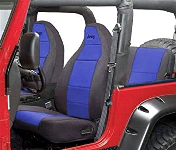 Coverking Front 50/50 Bucket Custom Fit Seat Cover for Select Jeep Wrangler TJ Models - Neoprene (Red with Black Sides) SPC119L