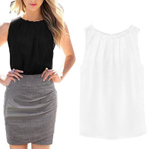 FUNOC Women Summer Loose Casual Chiffon Sleeveless Vest Shirt Tops Blouse