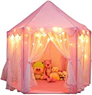 Orian Princess Castle Playhouse Tent for Girls with LED Star Lights – Indoor and Outdoor Large Kids Play Tent