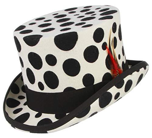 GEMVIE Men's 100% Wool Top Hat Satin Lined
