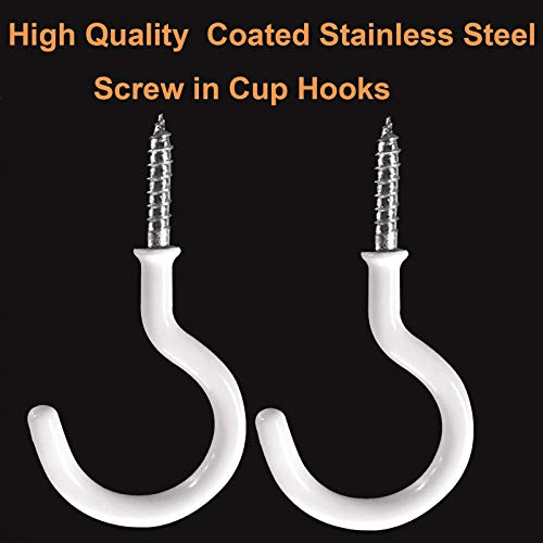 Ceiling Hooks for Hanging,10 Pack 2 inch Vinyl Coated Screw in Heavy Duty Hooks,Cup Plant Holders for Outdoor Indoor,White