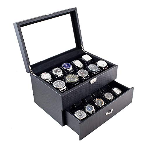 - Personalized Carbon Fiber Design Watch Box for Men - Holds 20, Watch Organizer, Watch Case, Men's Gift, Anniversary Gift, Groomsmen Gift, Christmas Gift, Caddy Bay Collection
