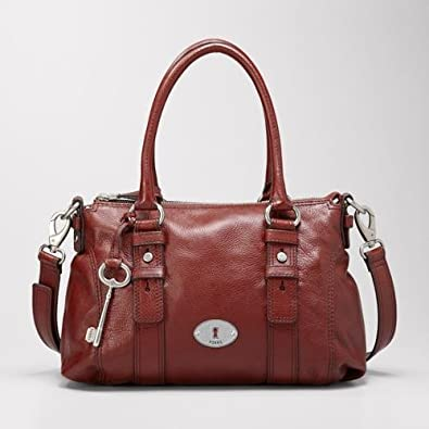 b529a32c7a26 Amazon.com  Fossil Maddox Leather Satchel (Brick Red)  Shoes