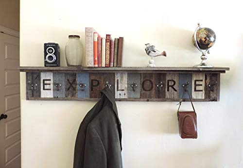 Personalized Reclaimed Barn Wood Coat Rack with 4 inch Deep Shelf, Decorative Custom Wall Mounted Entryway hooks, Rustic Farmhouse Hat Umbrella Tree Accent Your choice of length and colors