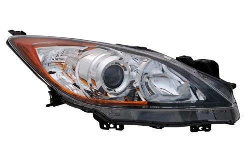 Headlights Depot Replacement for Mazda 3 4-Door Sedan/Hatchback Passenger Side Halogen Headlight -