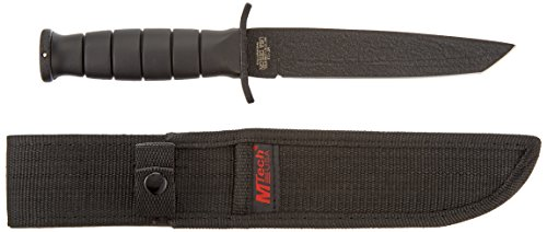Black Blade Survival Knife - MTECH USA MT-113 Rescue Team Fixed Blade Survival Knife, Black Straight Edge Tanto Blade, Black Handle, 10-1/2-Inch Overall