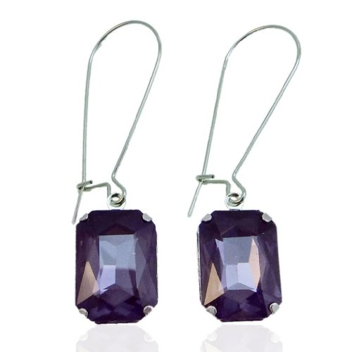 EVER FAITH Rhinestone Crystal Vintage Inspired Square Hook Dangle Earrings Dark Purple Silver-Tone