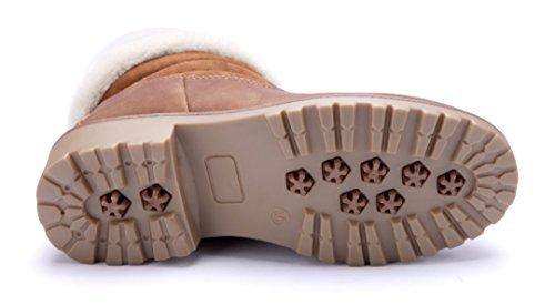 Schuhtempel24 Damen Schuhe Boots Stiefel Stiefeletten Blockabsatz 4 cm Camel