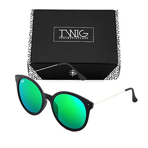 redondo sol Verde Negro de TWIG REMBRANDT espejo Gafas mujer IHRF6