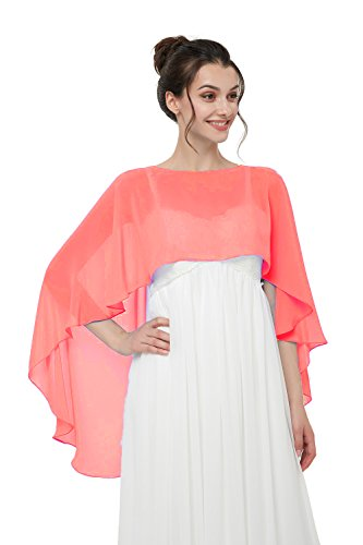 Hot Dresses Women's Chiffon Soft Shawl for Weddings Long Evening Wraps For Special Occasion (Watermelon Red) by HotDresses