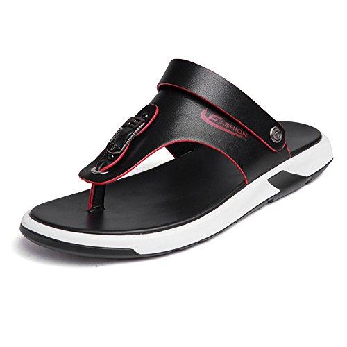 antiscivolo Infradito pelle Color in vera schienale Sandali spiaggia Nero casual da uomo 44 Nero regolabili 2018 shoes Infradito Dimensione morbidi senza Mens da EU Pantofola piatti wEqOnPRpx