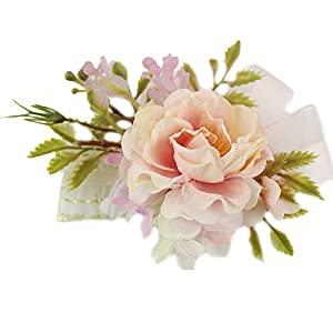 USIX 2pc Pack-Handmade Satin Flower Wrist Corsage With Elastic Wristband for Girl Bridesmaid Wedding Wrist Corsage Party Prom Flower Corsage Hand Flower(Lt. Pink) 37