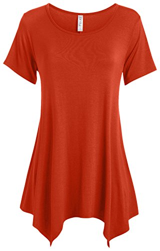 Line Rust (Womens Tunic Top Short Sleeve Scoop Neck Loose A-Line Tunic,Rust,Medium)