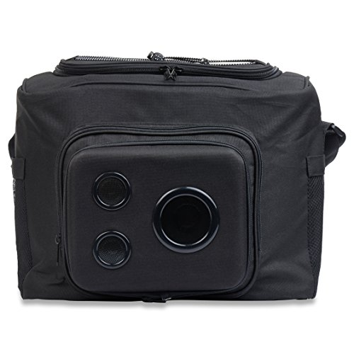 The #1 Cooler with Speakers on Amazon. 15-Watt Bluetooth Speakers & Subwoofer for Parties/Festivals/Boat/Beach. Rechargeable, Works with iPhone & Android (Black, 2019 Edition)]()