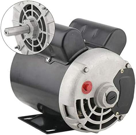 """41a3cs0yDML. AC Air Compressor Electric Motor 2 HP SPL 3450RPM Single Phase Electric Air Compressor Motor 120V/240V 56 Frame 5/8"""" Shaft    Specifications:【HIGH QUALITY MATERIAL】Air Compressor Electric Motor, made of high quality steel, rigid base, mounting bracket included, able to withstand harsh industrial applications. Equipped with UL approved manual thermal overload, capacitors and high quality ball bearings to ensure the lifetime.【POWERFUL AC MOTOR】Powerful AC motor, high starting torque, reduced starting amperage design to ensure the reduced voltage starting at rated load. Manual overload protection, totally enclosed fan, lubricated with low temperature grease. (Air Compressor Electric Motor, 2HP, SPL, 3450RPM, 56 Frame, 120V/240V, 15/7.5Amp, 5/8"""" Shaft, Single Phase.)【MAIN PARAMETERS 1】Power: 120V/240V 2HP; Speed: 3450RPM; Frequency: 60HZ; AMB 40°C; Frame: 56; Duty: Cont. Compressor; Service Factor: 1.0; Full Load Amps: 15/7.5; NS.CL: F; Single Phase; Open Drip Proof (ODP) Enclosure; Non-Reversible, CCW Rotation Facing Shaft; Thermally Protected; Manual Reset Overload Protection.【MAIN PARAMETERS 2】Overall Length W/O Shaft: 9.75""""; Overall Length With Shaft: 12.3""""; Overall Height: 8.5""""; Overall Width: 6.35""""; Shaft Diameter: 5/8""""; Shaft Length: 2.55""""; Standard Size Keyway: 3/16""""; Package size: 14'' x 11'' x 8''; Shipping weight: 25lb.【SPECIAL DESIGN】Open drip-proof is better used in environment that are relatively clean and dry environments. Special design for air compressor duty. Motor is non-reversible CCW(counter clockwise) only. (Default settings are default low-voltage current. If the need to use high-voltage current, please replace the use of high voltage wiring.)"""