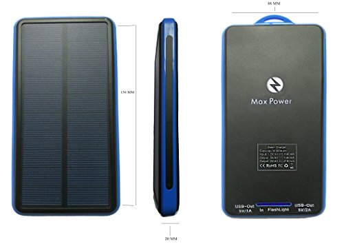 Max Power-Z Solar Charger 16000mAh Power Bank Travel Charger with Portable LED Flashlight For Camping, Hiking, Compatible Smartphone with any Android,Windows- Blue by Max Power